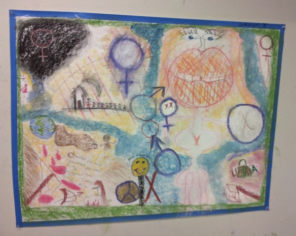 The collaborative art piece made by Laura Durnell's group at the event.